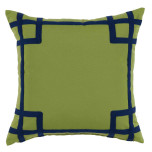 Rio Ginko With Navy Tape Outdoor Pillow 20 X 20 In   Gracious Style
