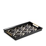 Deco Noir Rectangular Tray - Black + Grey + White Natural Shells - Large 23.5 x 13.5 x 2 in | Gracious Style