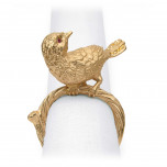 Bird Gold/Yellow Crystals Napkin Rings, Four