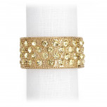 Pave Band Gold/Yellow Crystals Napkin Rings, Four | Gracious Style