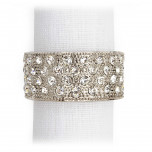 Pave Band Platinum/White Crystals Napkin Rings, Four
