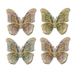 Butterflies Gold Napkin Rings Set of Four Napkin Rings - Gold