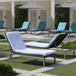 Lounge Chair Covers Velour Stripe with Fitted Hood, Ecru | Gracious Style