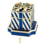 Blue Gift Box Stocking Holder