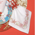 Kim Seybert Shell Border Red Embroidered Napkins | Gracious Style