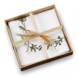 Linen Embroidered Napkins Leaf | Gracious Style