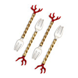 Coral Cocktail Forks, Four