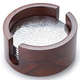 Kenya Indian Rosewood 6-Coaster w/Crocodile Pattern 5 in x 3 in