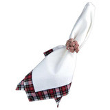 "Plaid Pique Napkin Red/White 22""Sq"
