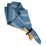 "English Garden Stripe Napkin Blue Chambray 22""Sq"