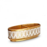 Fortuny Condiment Dishes Two Sections Piumette White & Gold 9 x 4 x 3 in