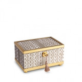 Fortuny Decorative Box Small Tapa White & Gold 6 x 4 x 3.5 in