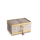Fortuny Decorative Box Small Tapa White & Gold 6 x 4 x 3.5 in