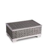 Fortuny Decorative Box Medium Tapa Black & Platinum8 x 5.5 x 3 in