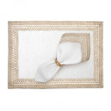 Fortuny Placemats Tapa White & Gold (Set of 4) 20 x 14 in