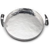 Orion Round Tray w/Buffalo Horn Handles 15 in