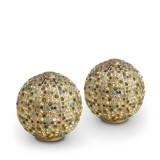 Pave Sphere Gold Multi Salt & Pepper Shakers