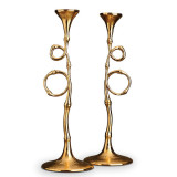 Evoca Set of Two 16 in Gold Candlesticks