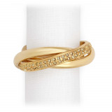 Three-Ring Gold/Yellow Crystals Napkin Rings, Four