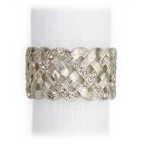 Braid Platinum/White Crystals Napkin Rings, Four
