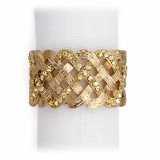 Braid Gold/Yellow Crystals Napkin Rings, Four