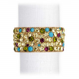 Pave Band Gold/Multi Crystals Napkin Rings, Four