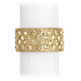 Pave Band Gold/Yellow Crystals Napkin Rings, Four