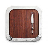 Sierra Serve Tray w/Wood Insert & Cheese Knife 14 x 14 in