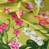 Orchidees Green Table Linens