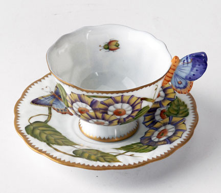 Butterfly Handle Triple Flower Cup & Saucer | Gracious Style